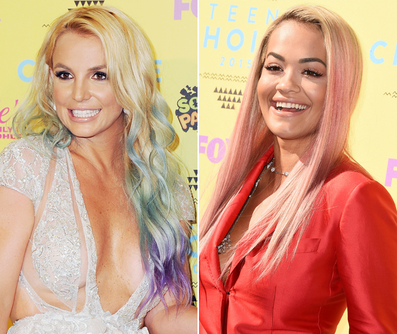 Britney Spears and Rita Ora Debut Rainbow Hair at the Teen Choice Awards