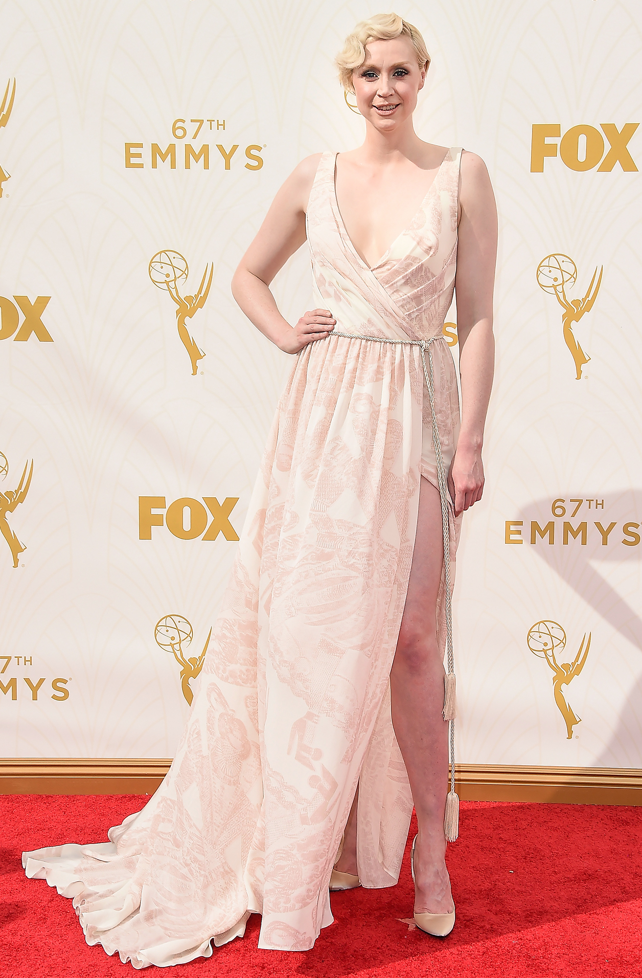 Giles Deacon Previews His Spring Collection on <em>Game of Thrones </em>star Gwendoline Christie at the 2015 Emmys