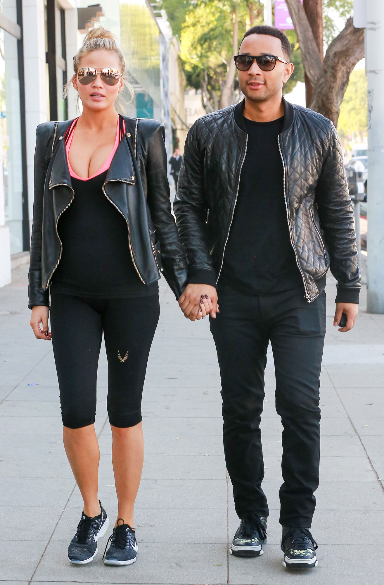 Chrissy Teigen and John Legend are seen on December 04, 2015 in Los Angeles, California.