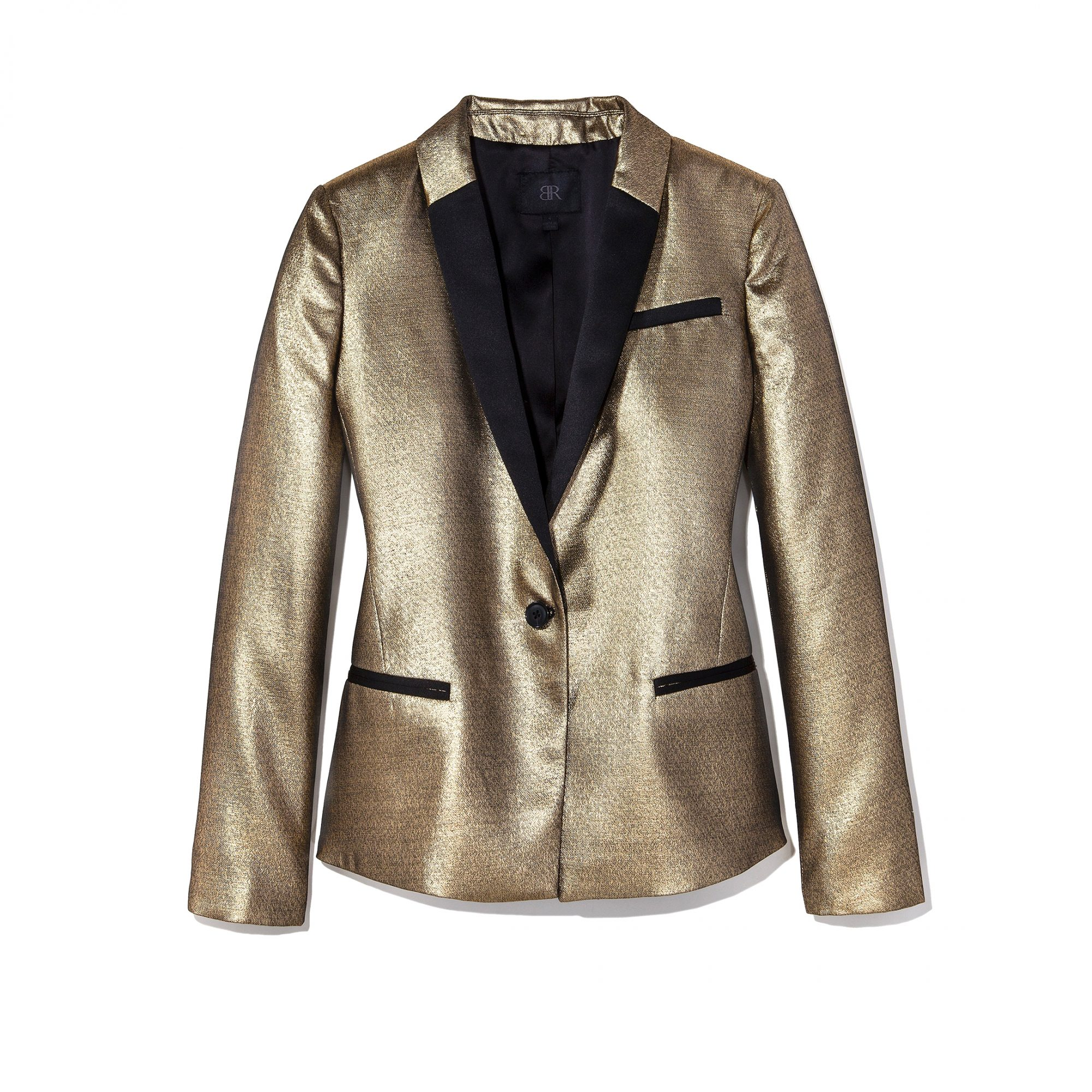 <p>BANANA REPUBLIC MONOGRAM GOLD BLAZER</p>