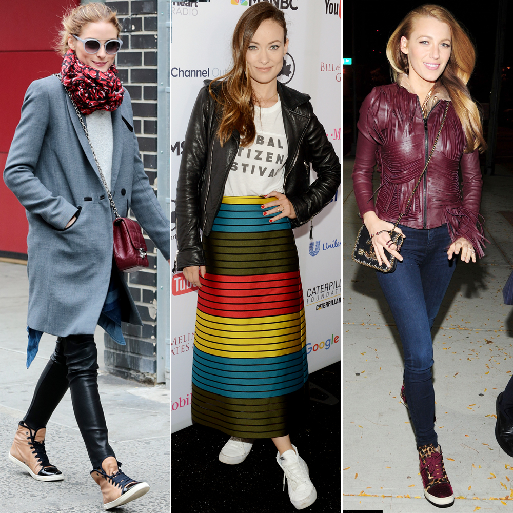 7 Ways to Wear High-Top Sneakers Like Olivia Palermo, Blake Lively, and More