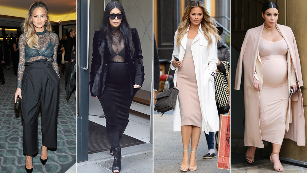 Every Time Chrissy Teigen Channeled Kim Kardashian's Maternity Style