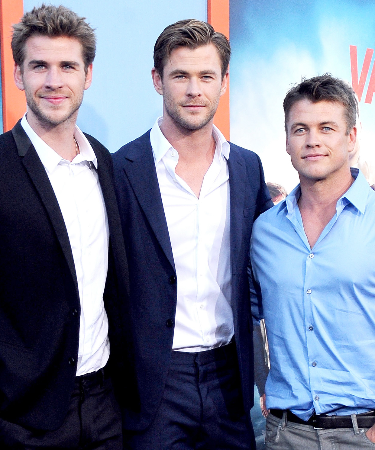 (L-R) Actors/brothers Liam Hemsworth, Chris Hemsworth and Luke Hemsworth arrive at the Premiere Of Warner Bros. 'Vacation' at Regency Village Theatre on July 27, 2015 in Westwood, California.