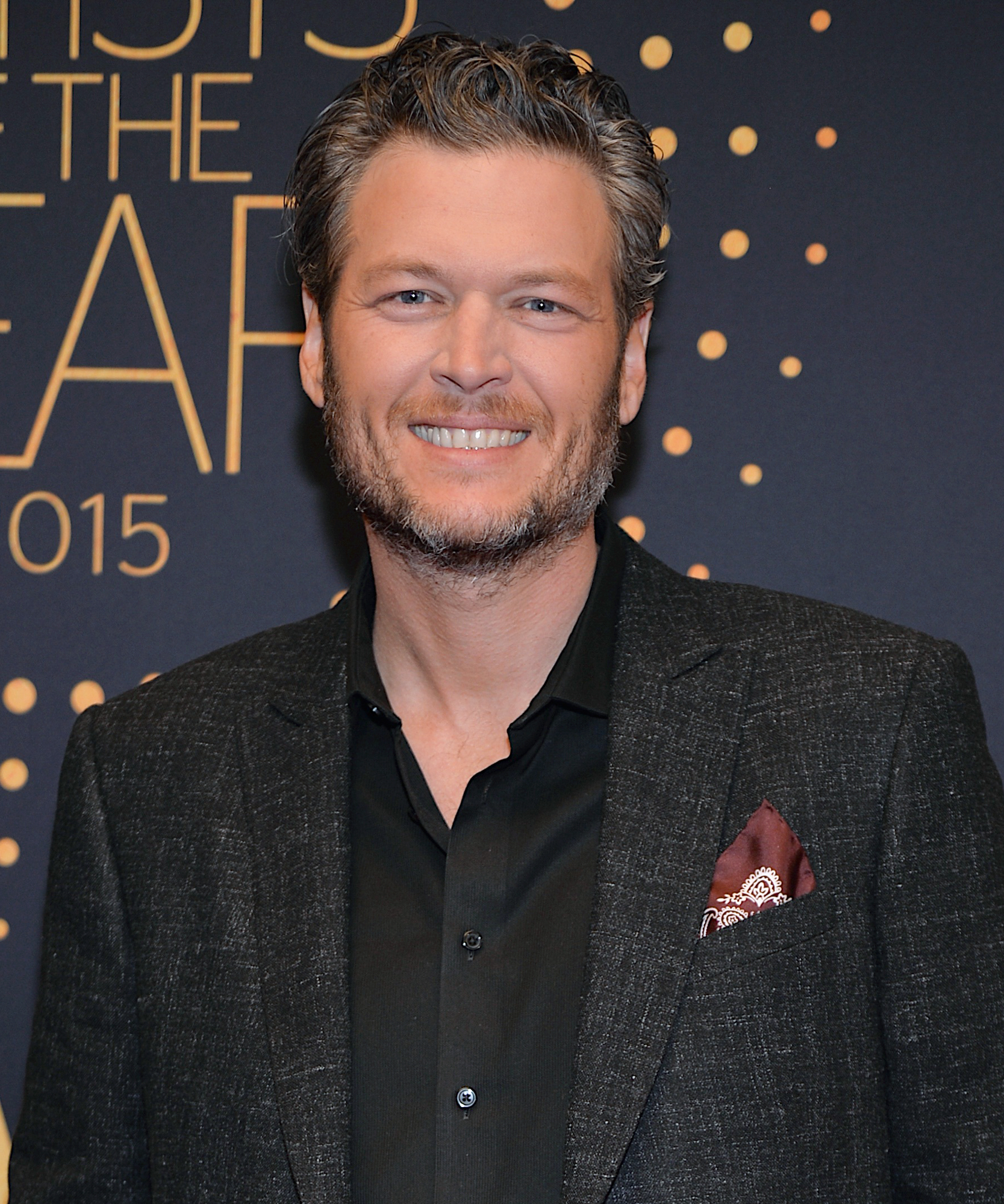 Recording Artist Blake Shelton arrives at CMT Artists of the Year 2015 at Schermerhorn Symphony Center on December 2, 2015 in Nashville, Tennessee.