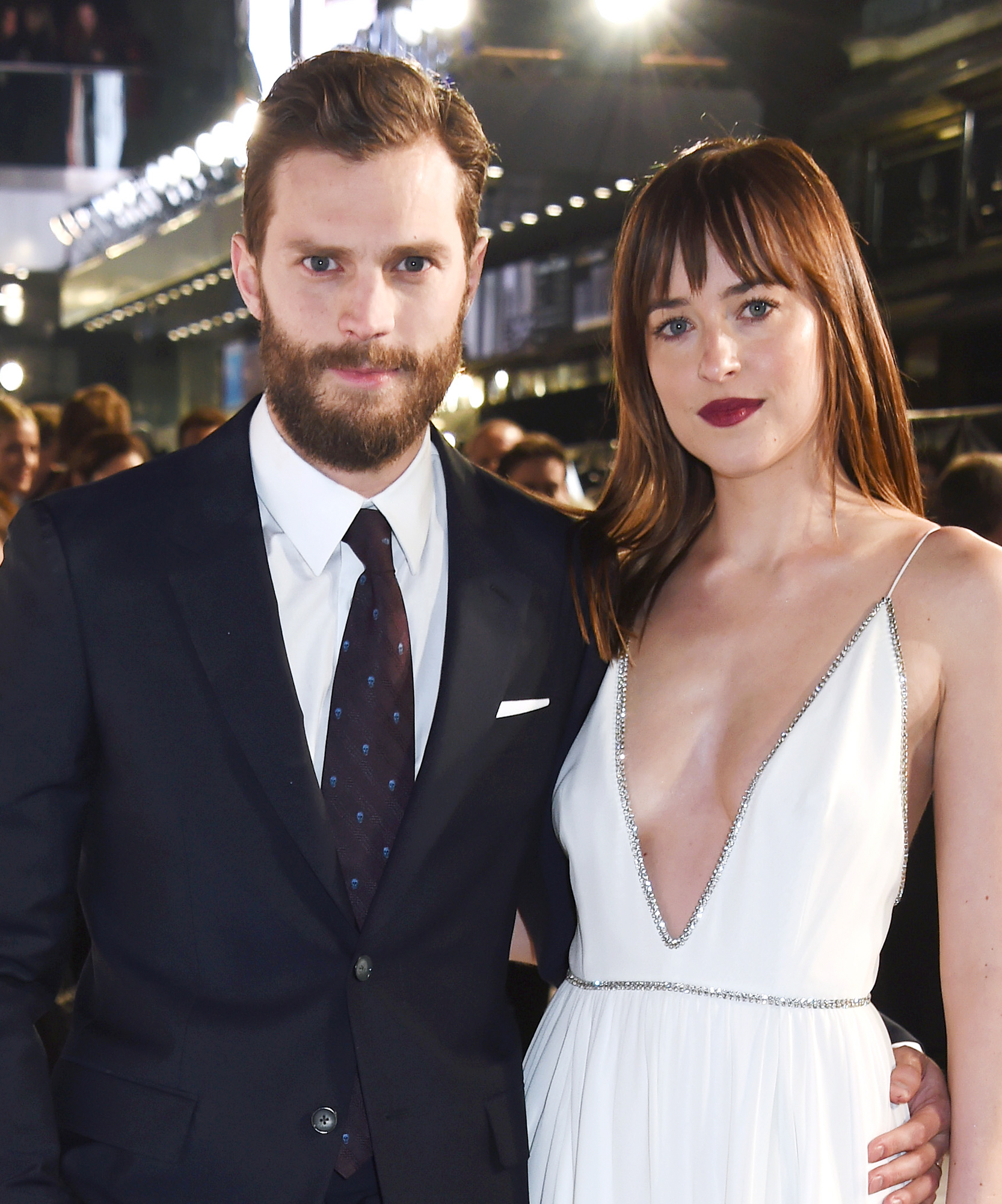 Jamie Dornan (L) and Dakota Johnson attend the UK Premiere of 'Fifty Shades Of Grey' at Odeon Leicester Square on February 12, 2015 in London, England.