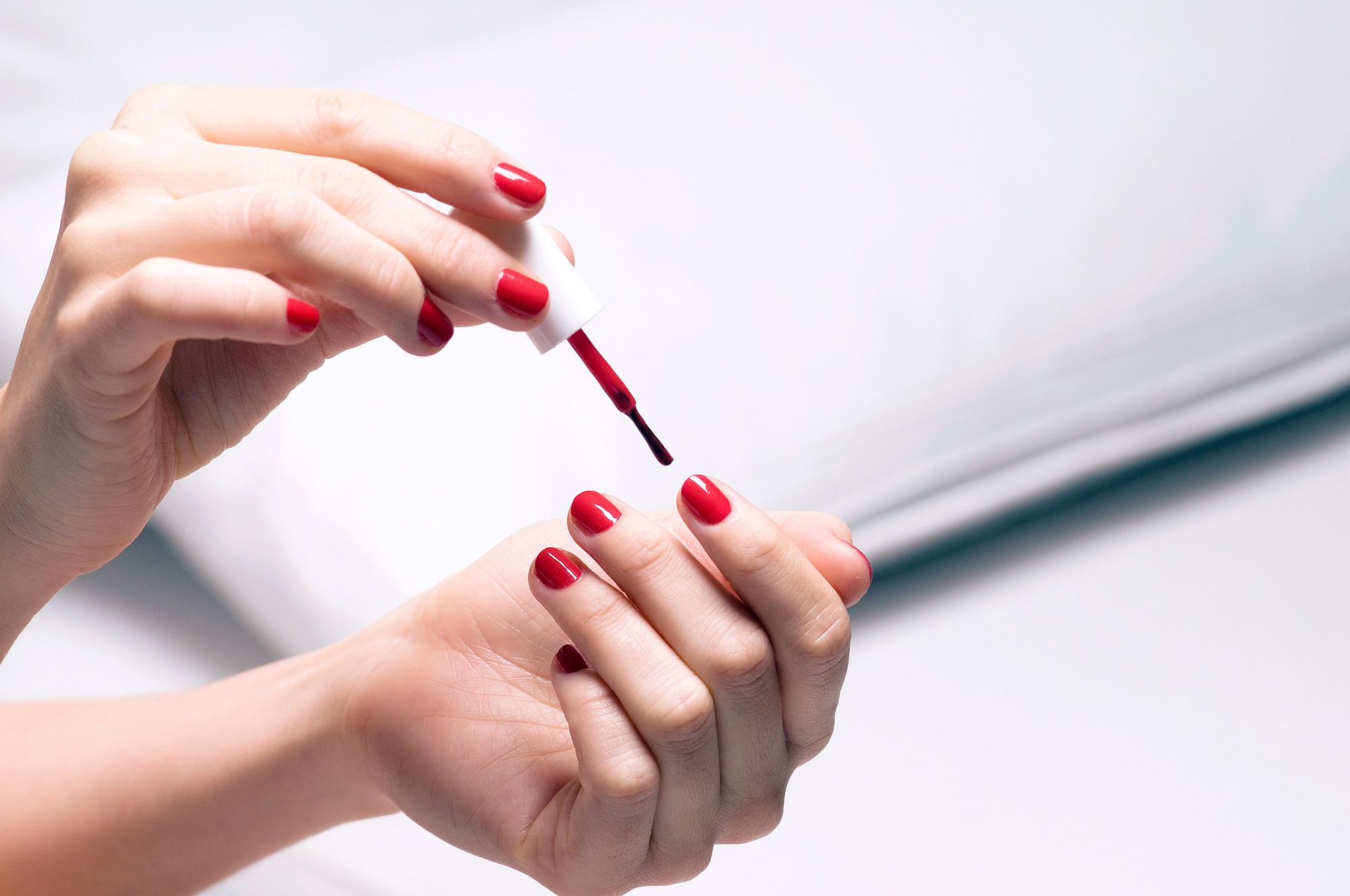 Painting Red Nails Lead