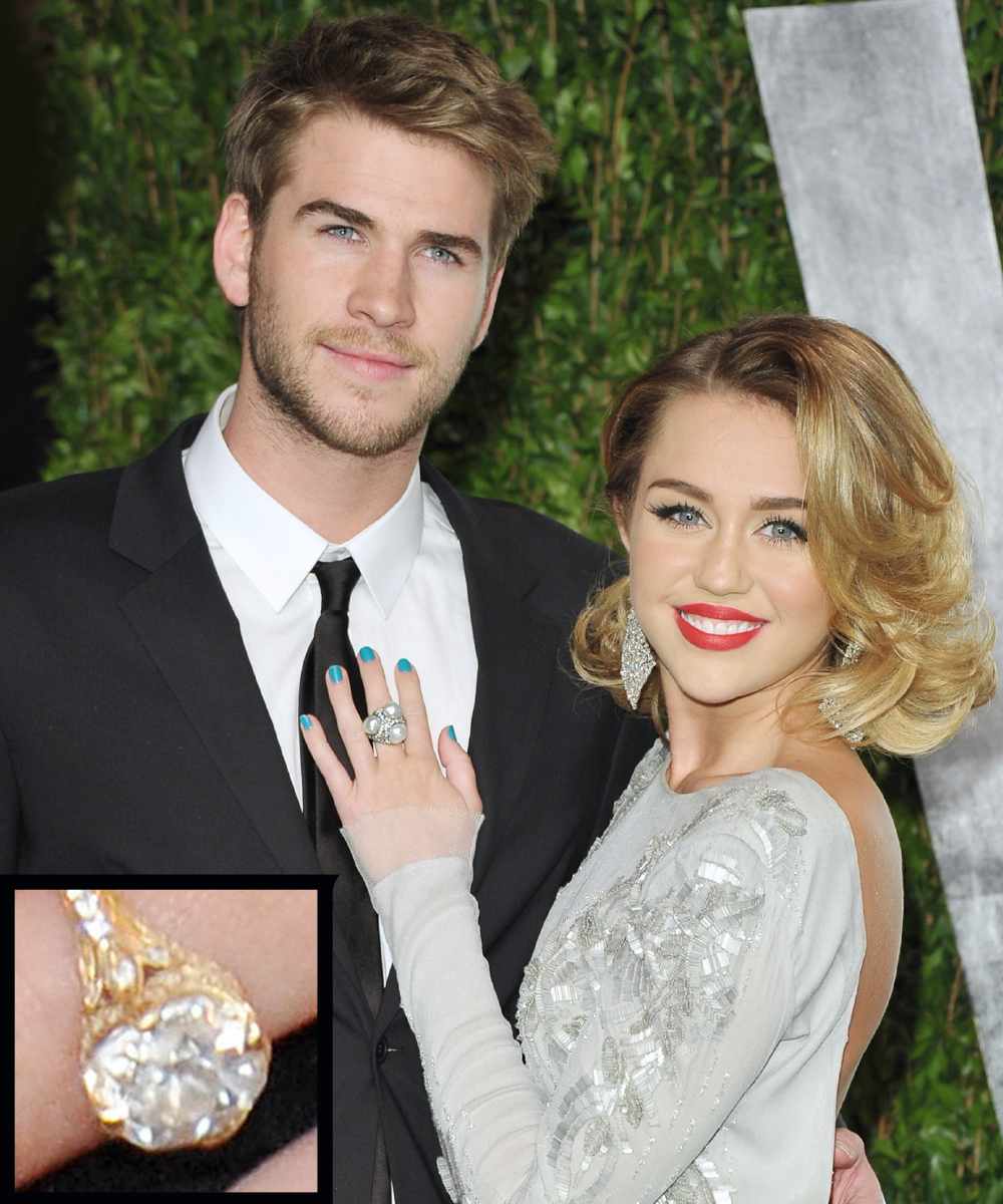 <p>Miley Cyrus and Liam Hemsworth</p>