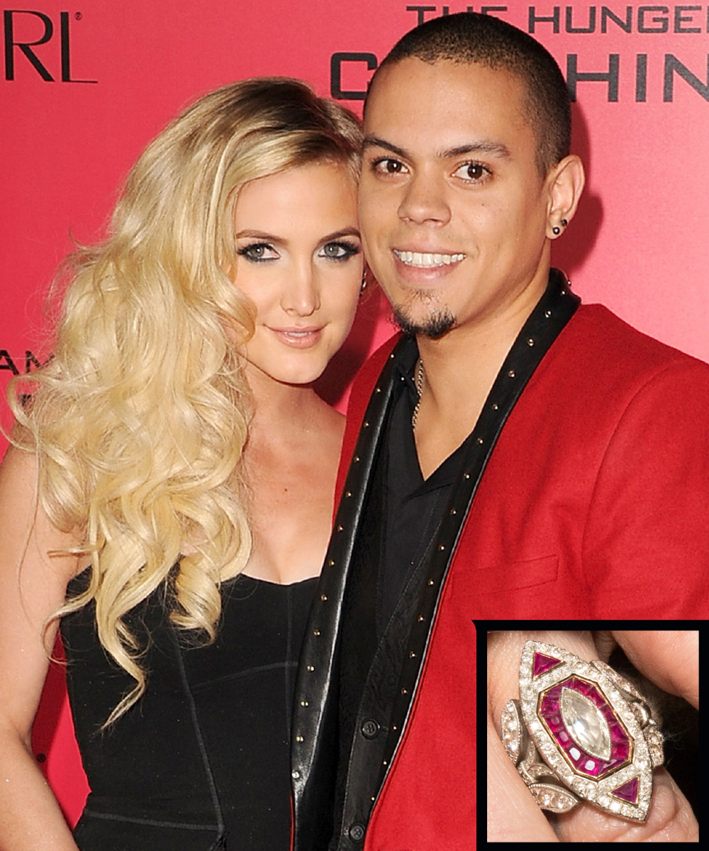 <p>Ashlee Simpson and Evan Ross</p>