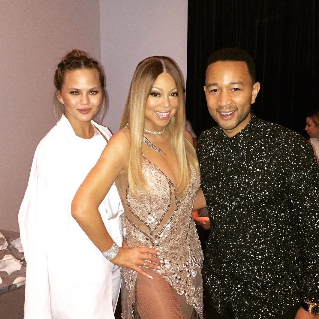 John Legend, Chrissy Teigen and Mariah Carey