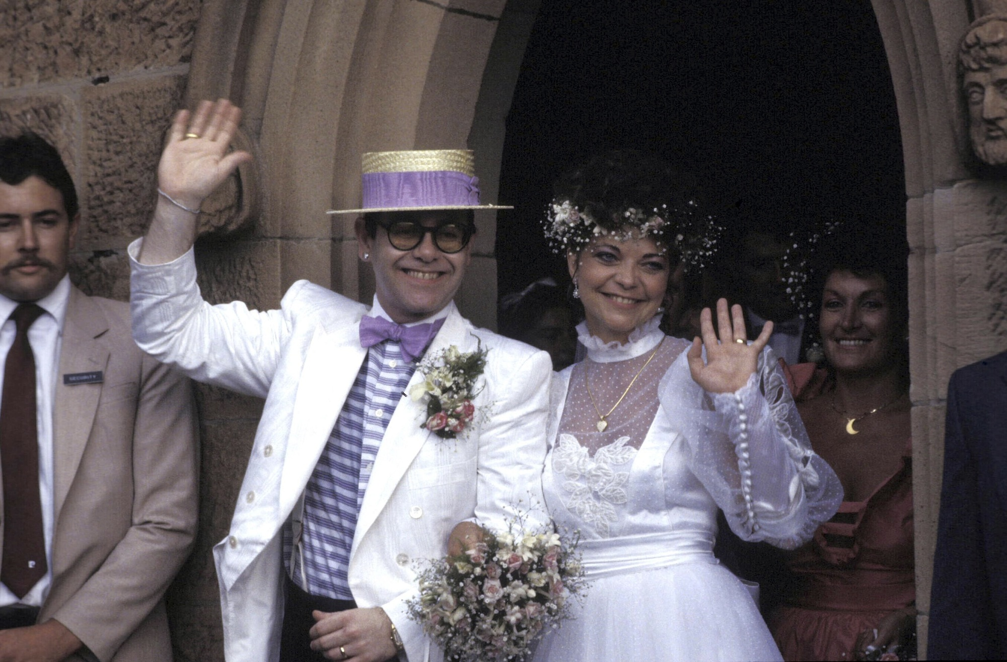 <p>Elton John and Renate Blauel</p>