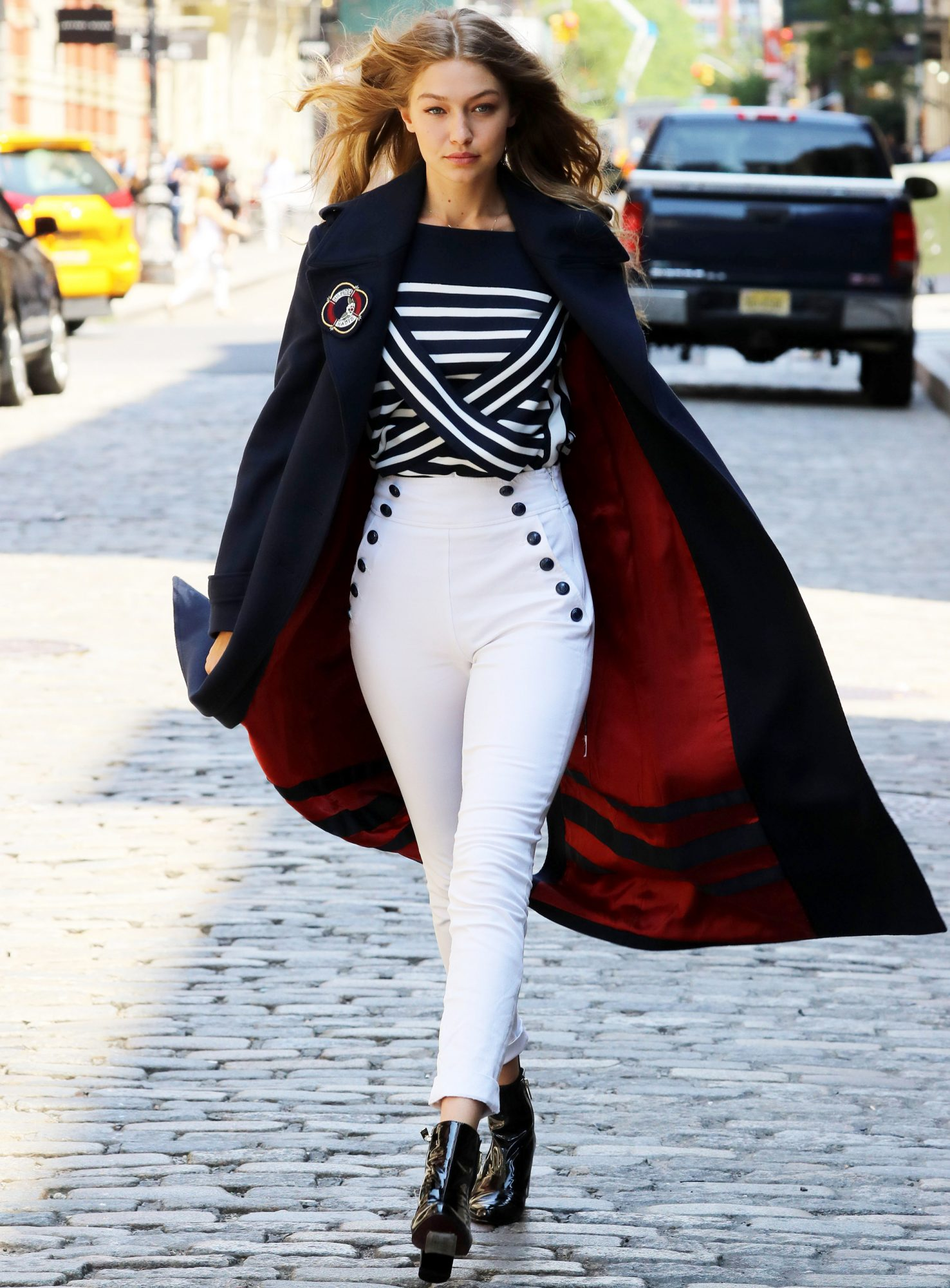Gigi Hadid Wears Nautical Tommy Hilfiger Outfit In N Y C