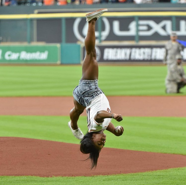 <p>She's thrown a first pitch.</p>