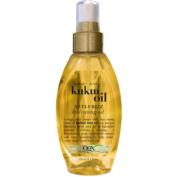 <p>Drugstore Gem: OGX Hydrate + Defrizz Kukuí Oil Anti-Frizz Hydrating Oil</p>