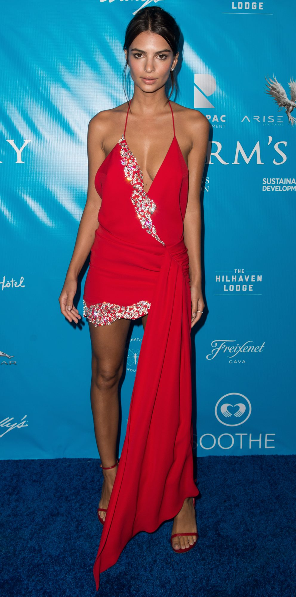 Emily Ratajkowski's Fiery Red Dress Looks Even Sexier from the Back