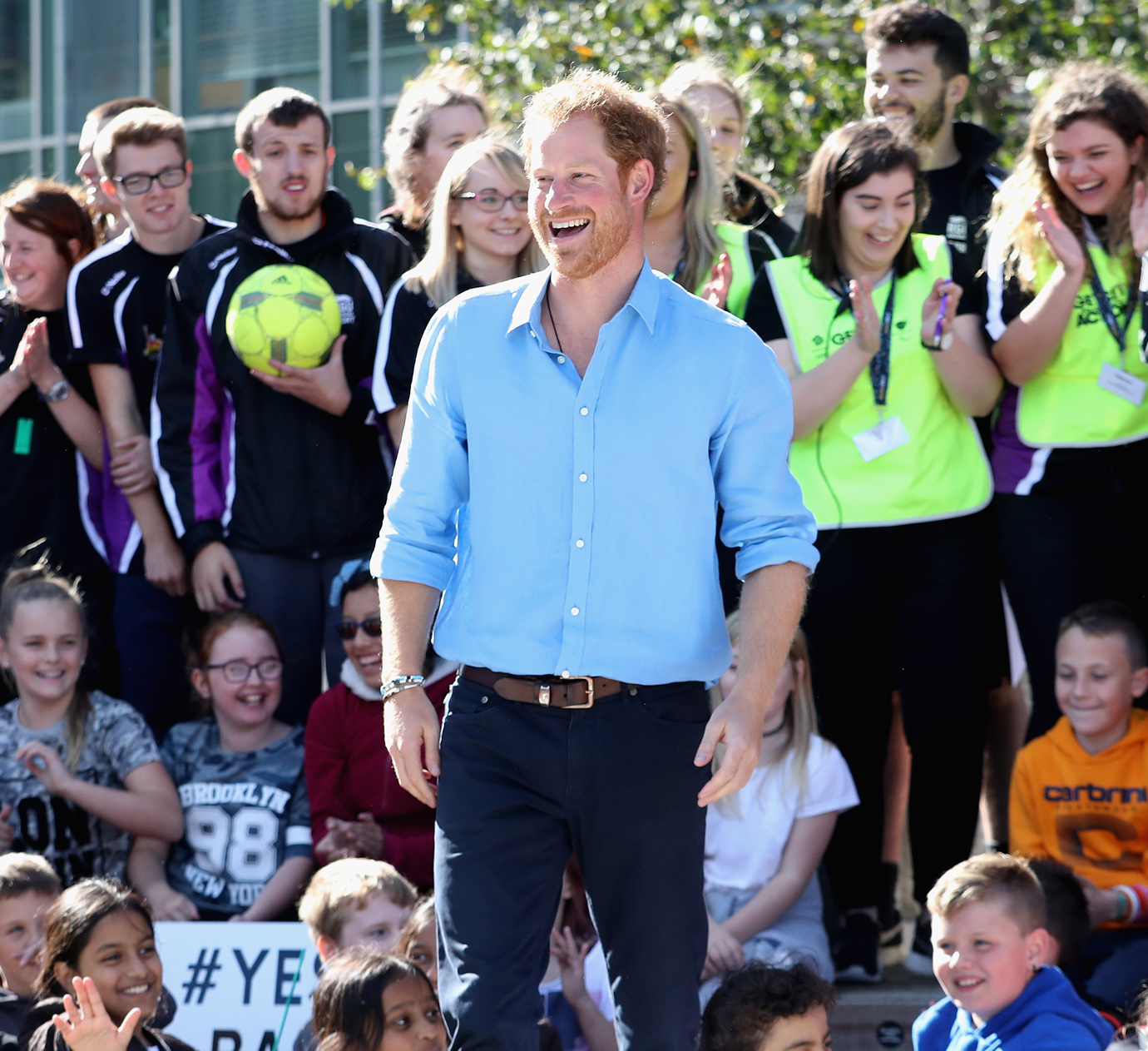 """Prince Harry Does a """"Dab"""" in Scotland and Delights a Few Lucky Teens"""