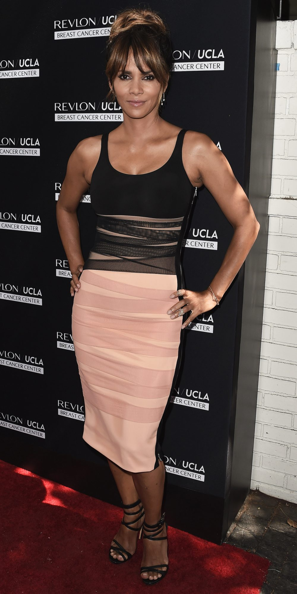 Halle Berry S Exquisite Pink And Black Body Con Dress