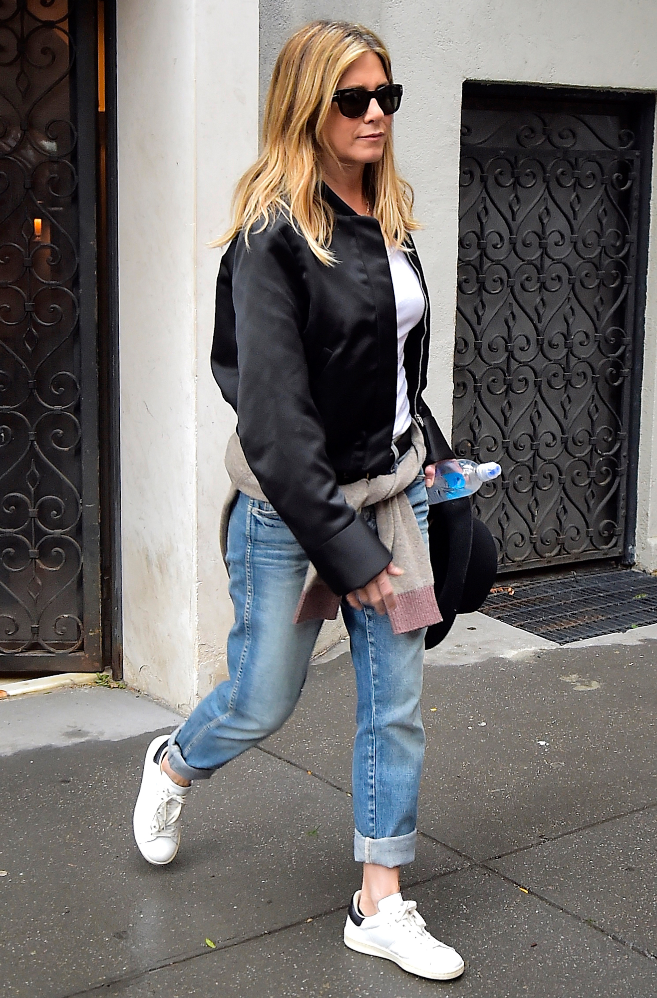 Jennifer Aniston Street Style Satin Bomber Jacket Rolled Up Jeans