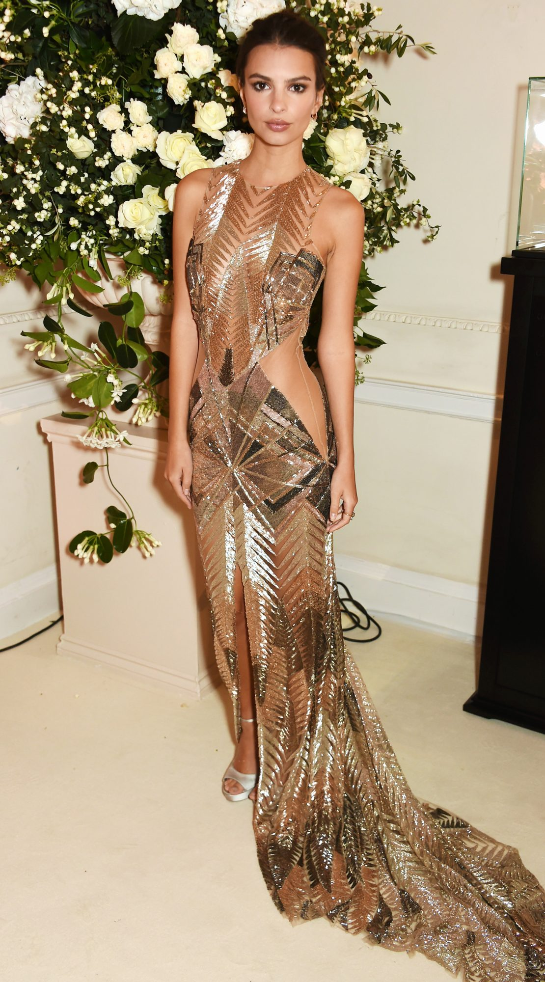 Emily Ratajkowski Marries Gold, Nude, and Sheer in One Incredible Dress