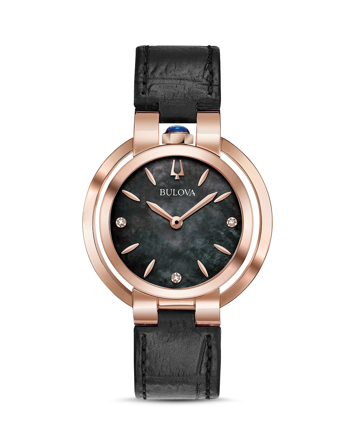 Bulova Rubaiyat Black Leather Strap Watch
