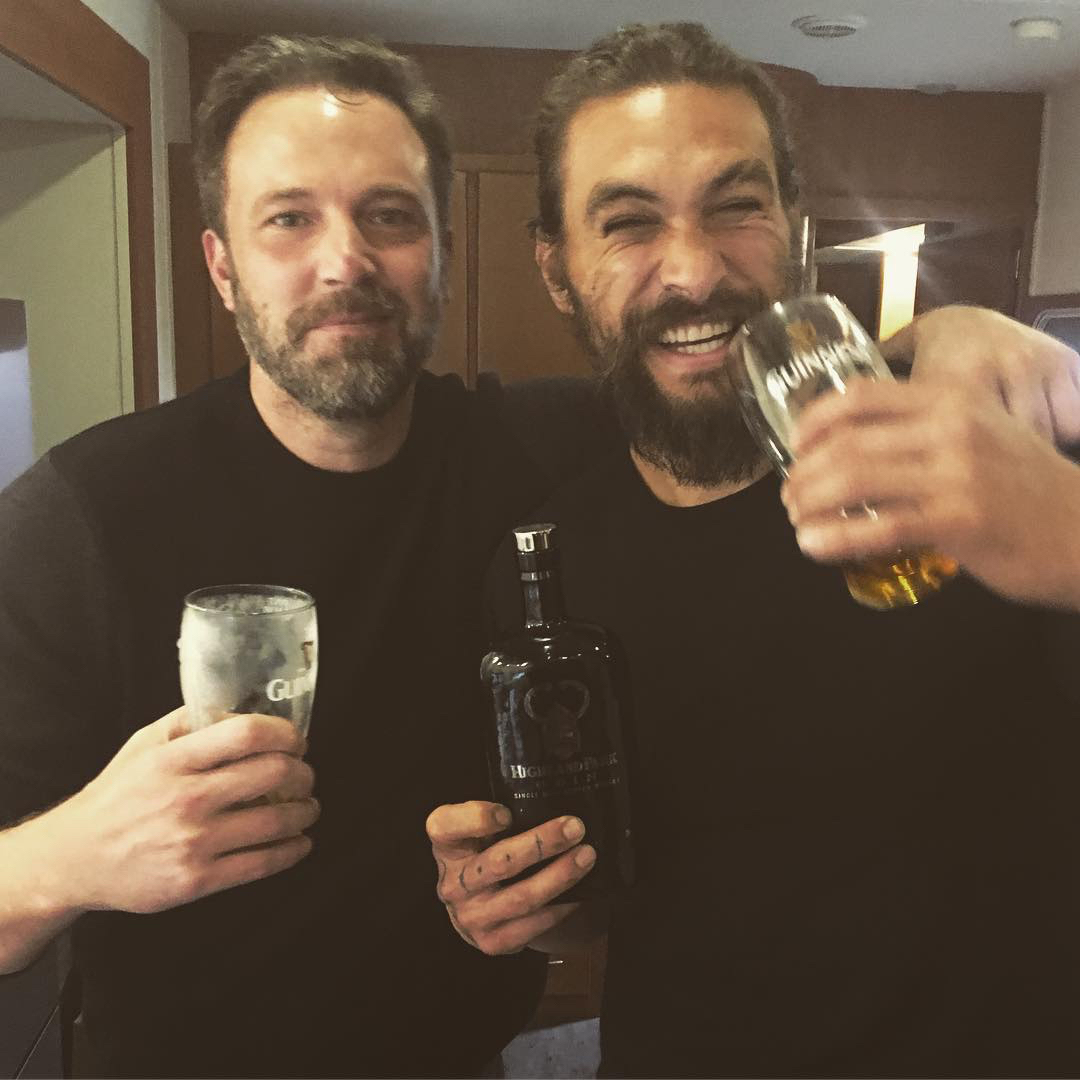 Ben Affleck and Jason Momoa Celebrate End of <em>Justice League</em> Filming with a Couple of Pints