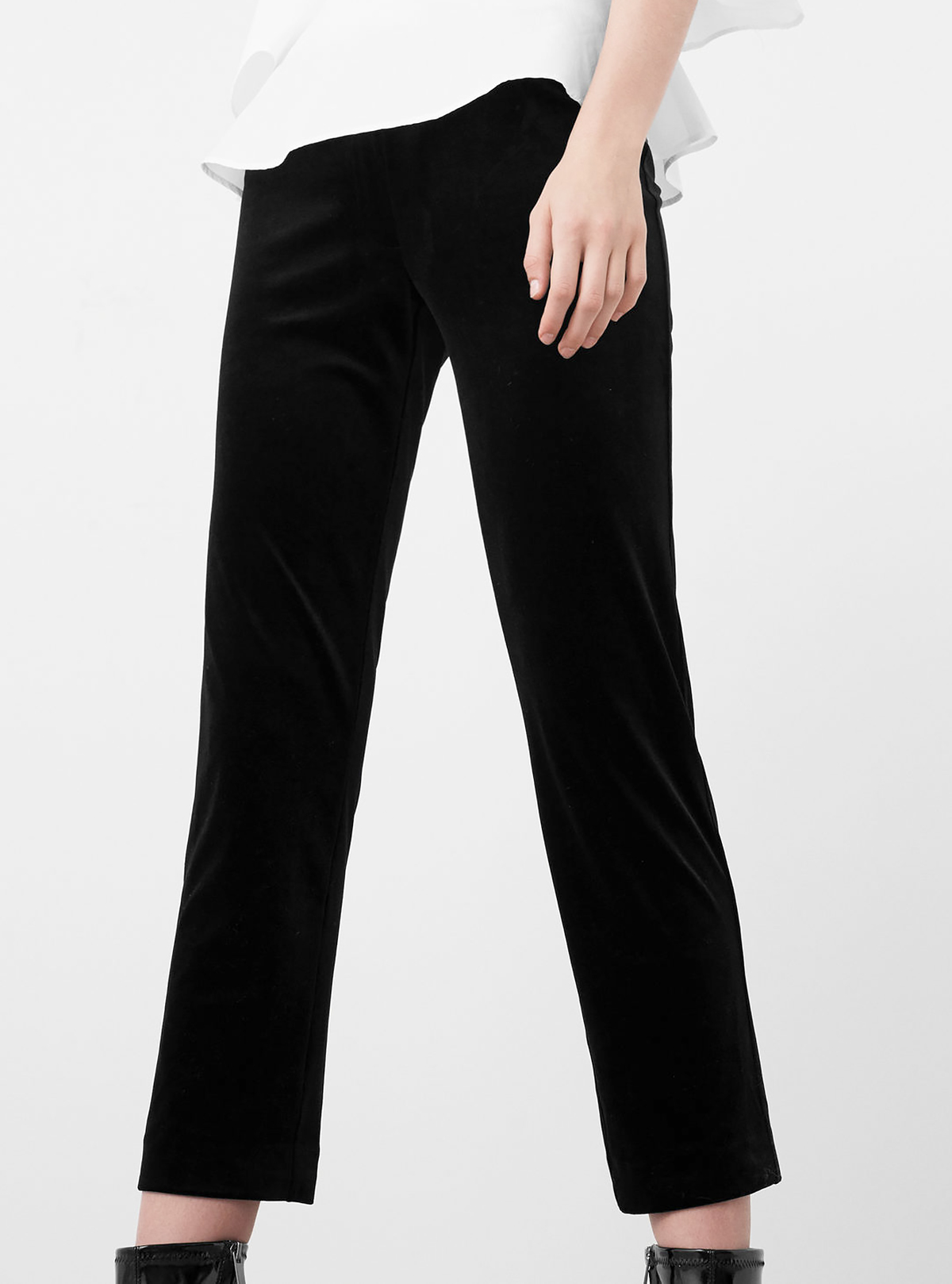 Mango black velvet trousers