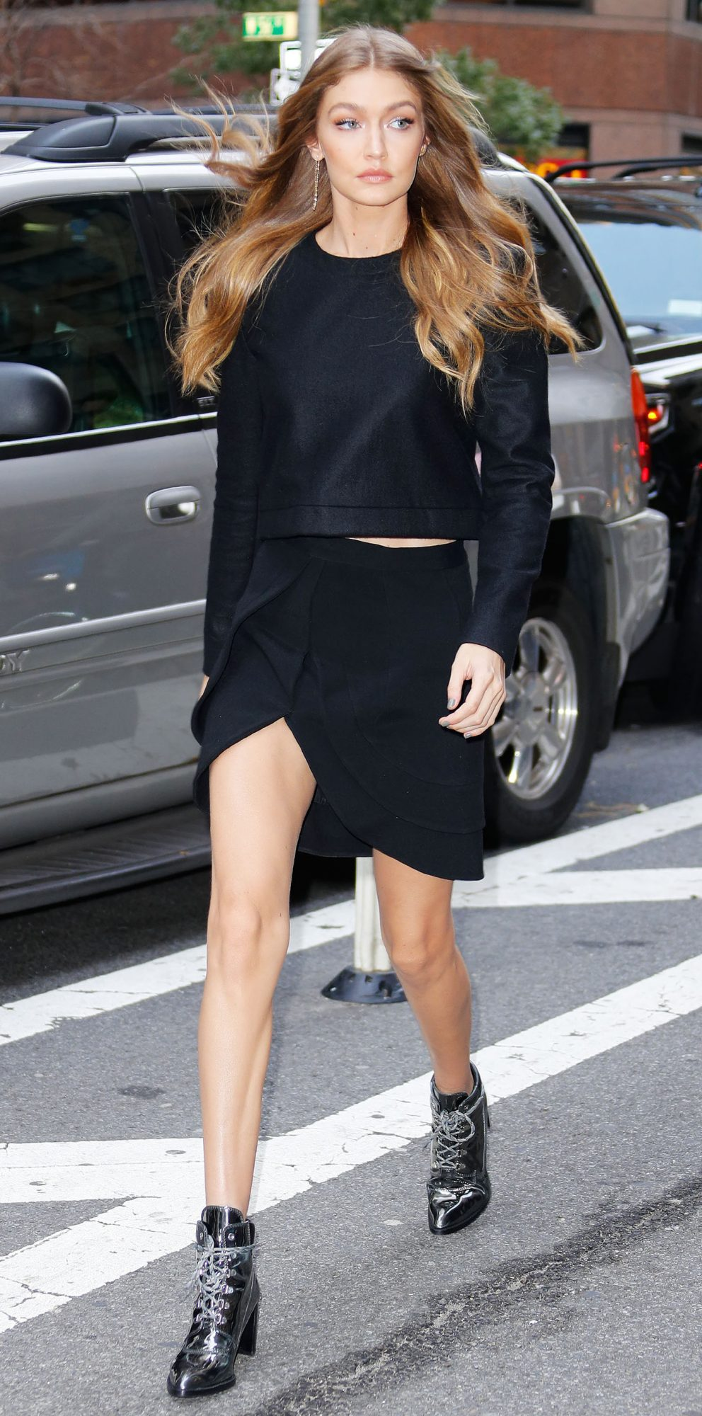 Gigi Hadid Slays In Brandon Maxwell Crop Top And Skirt In N Y C