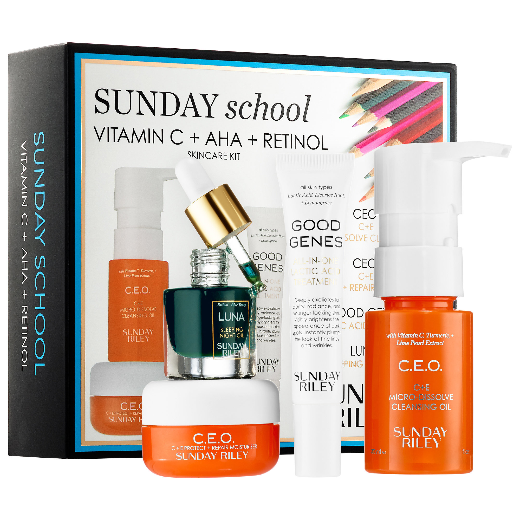 <p>Sunday Riley Sunday School Skincare Set </p>
