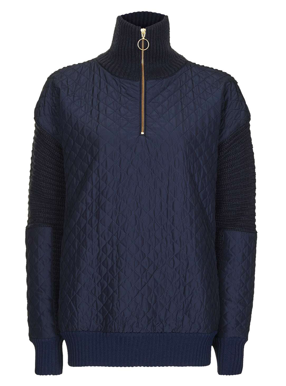 Quilted Navy Quarter Zip