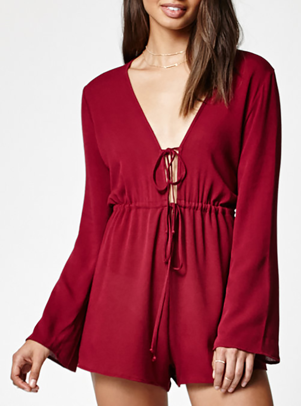 Tie Front Long-Sleeve Romper