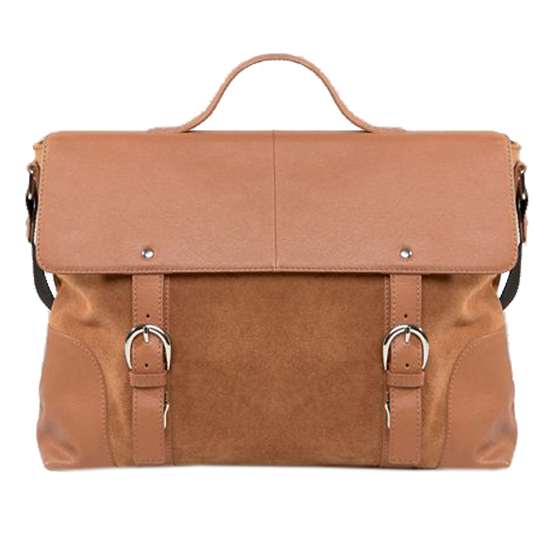 ASOS Leather & Suede Mix Satchel In Tan