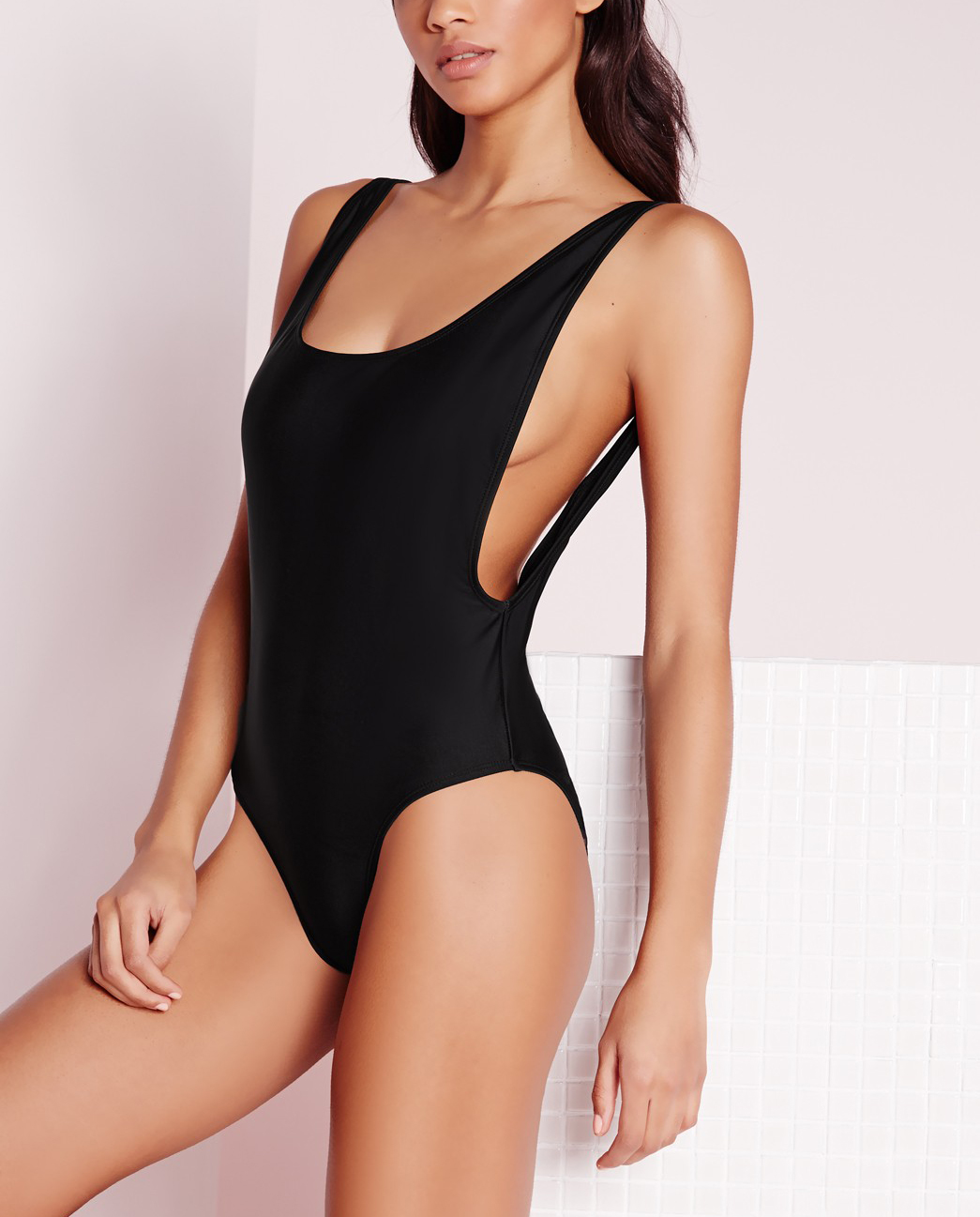 black high leg swimsuit
