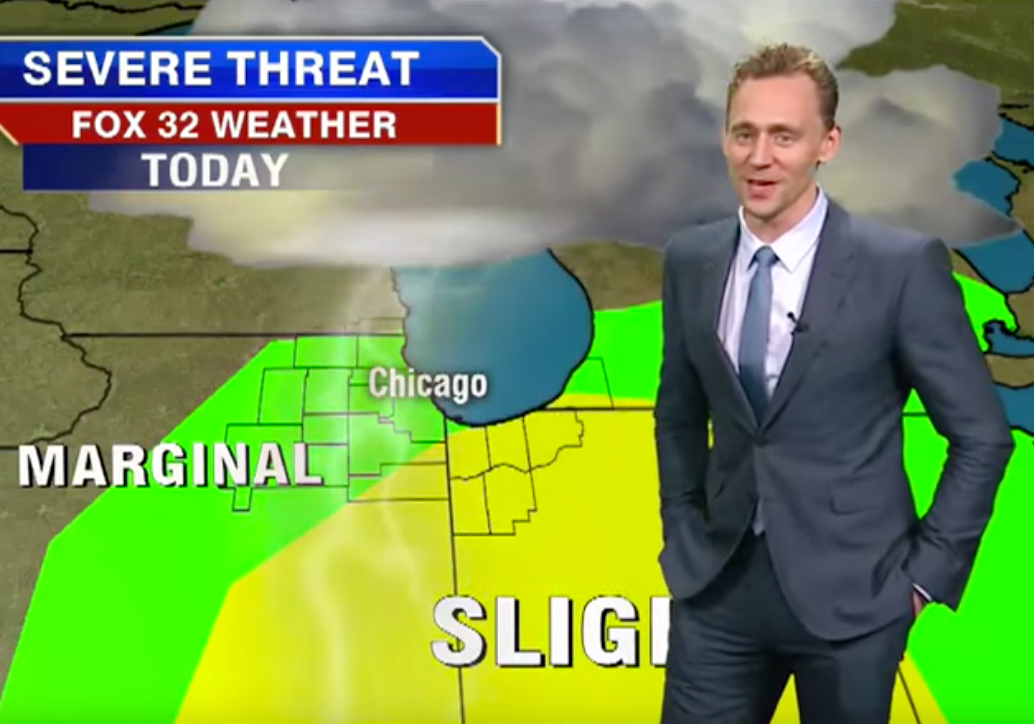 <p>Tom Hiddleston Plays a Weatherman?</p>