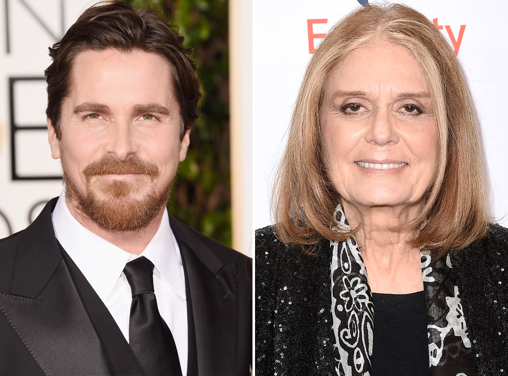 <p>Christian Bale and Gloria Steinem</p>