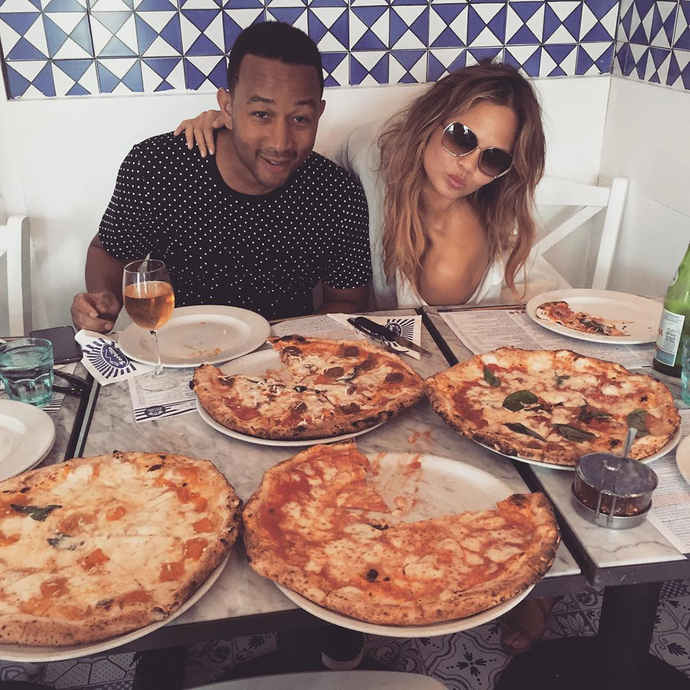 When Chrissy orders pizza, she orders four pies.