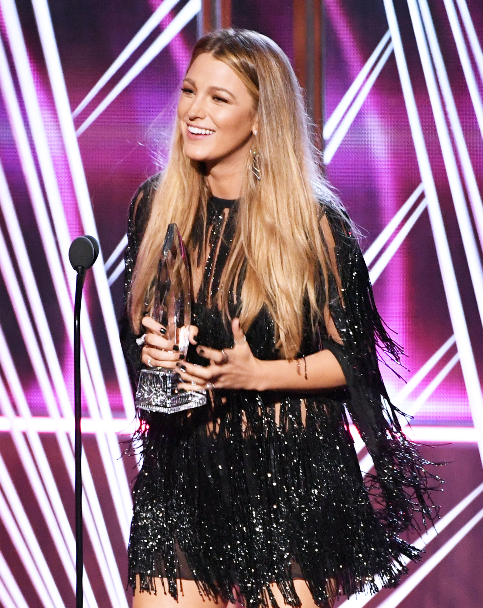 Blake Lively Accepts Her First PCA in a Leg-Baring Swingy Fringe Mini