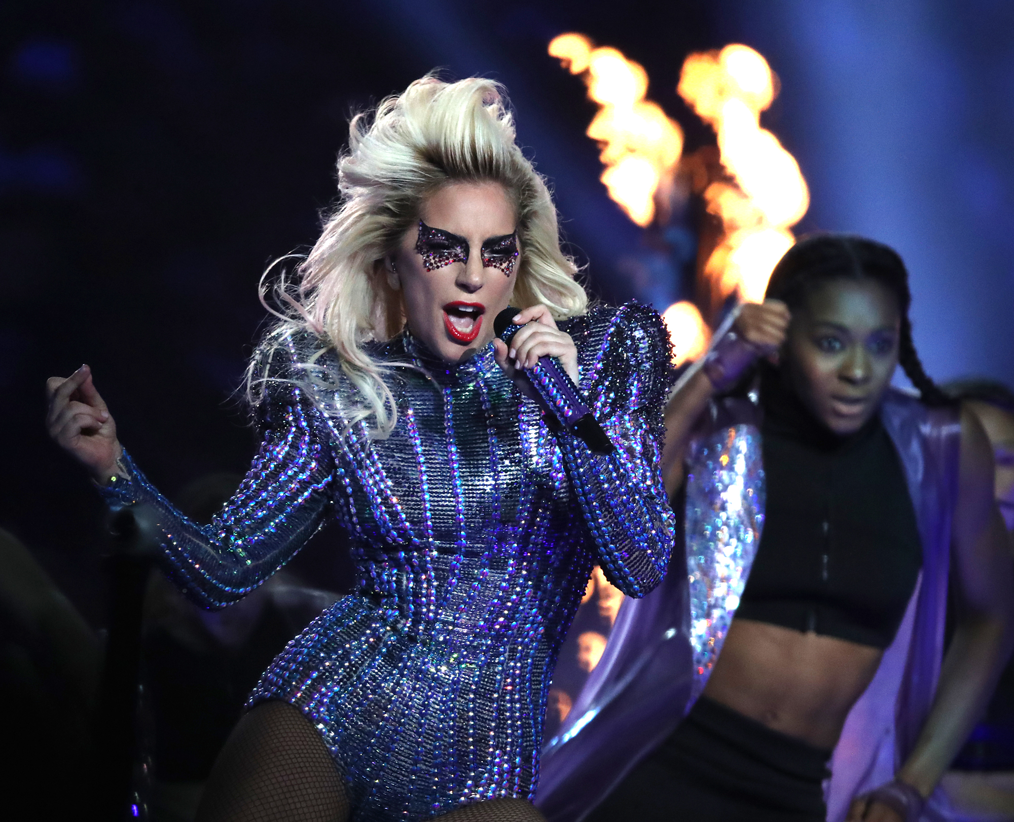 Lady Gaga performs at halftime at NRG Stadium in the Super Bowl. The Atlanta Falcons play the New England Patriots in Super Bowl LI at NRG Stadium in Houston on Feb. 5, 2017.