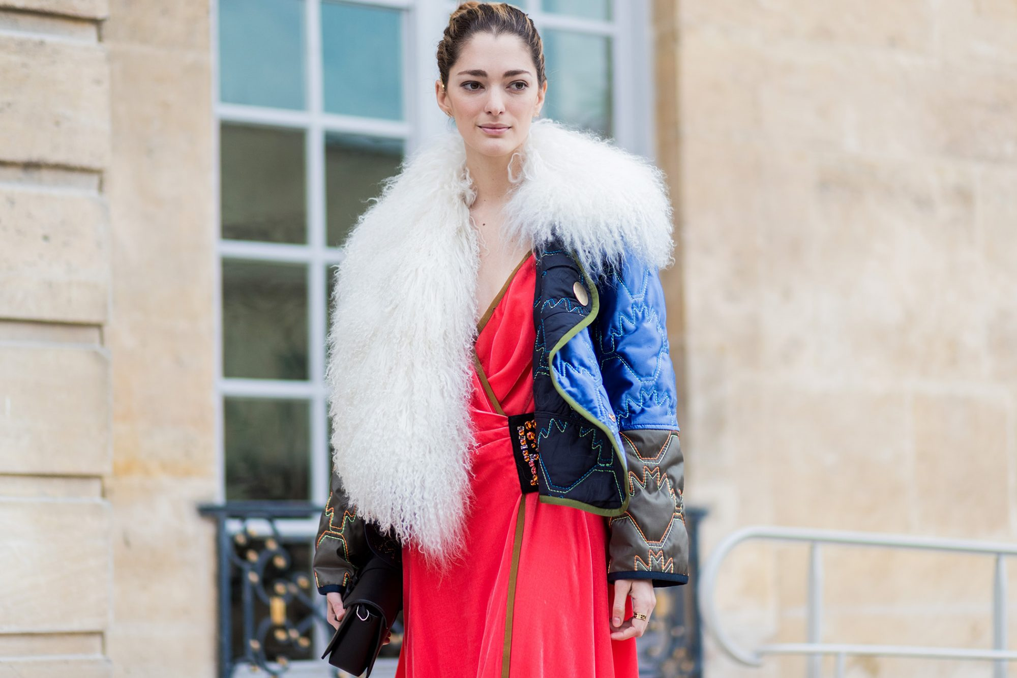 <p>Red and blue with a touch of fur</p>