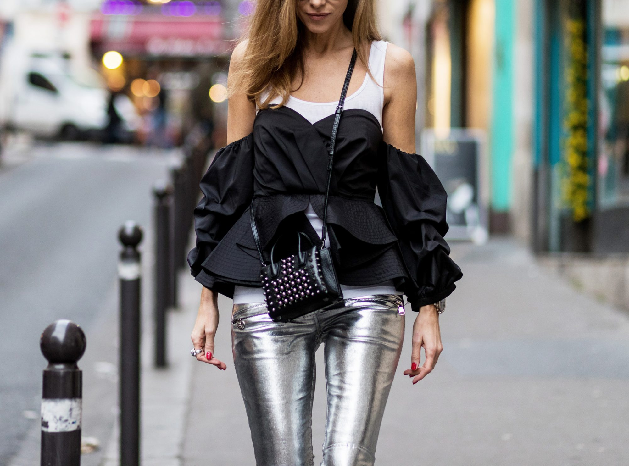 STRUCTURAL LAYERING AND HIGH-SHINE PANTS