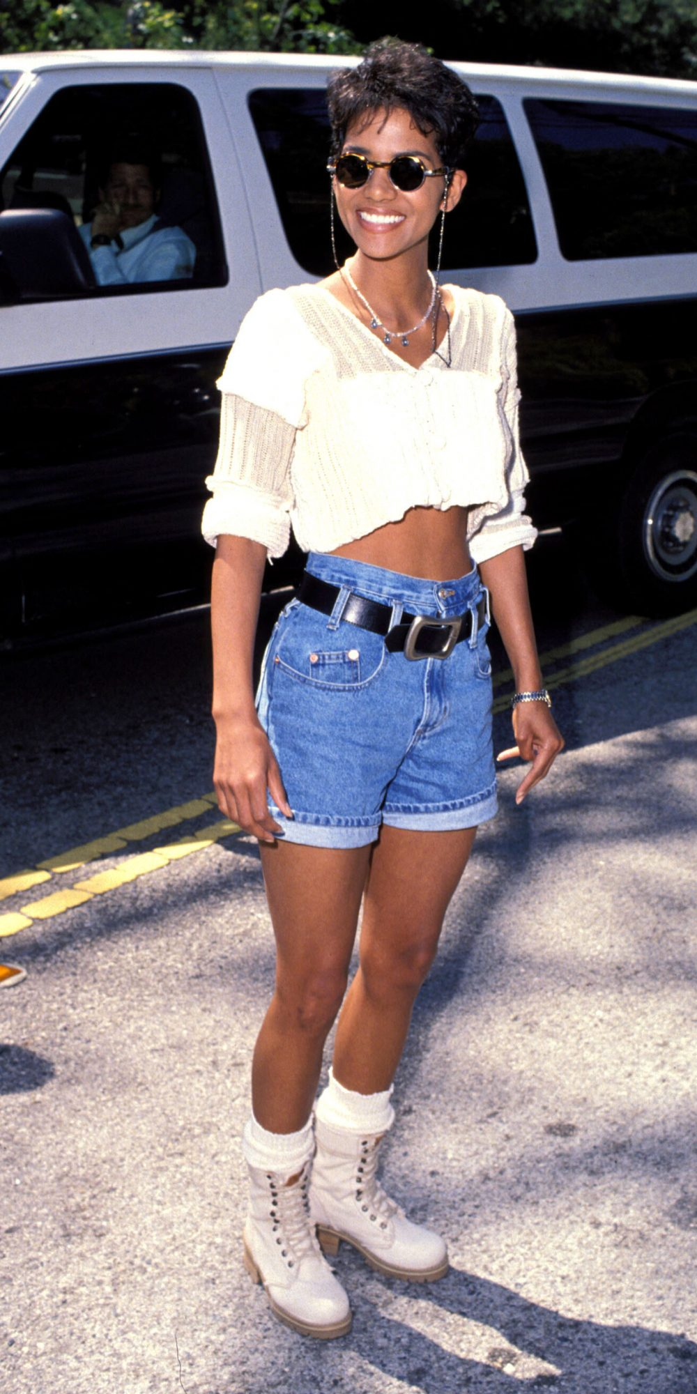 <p>The White Top and Denim Shorts</p>