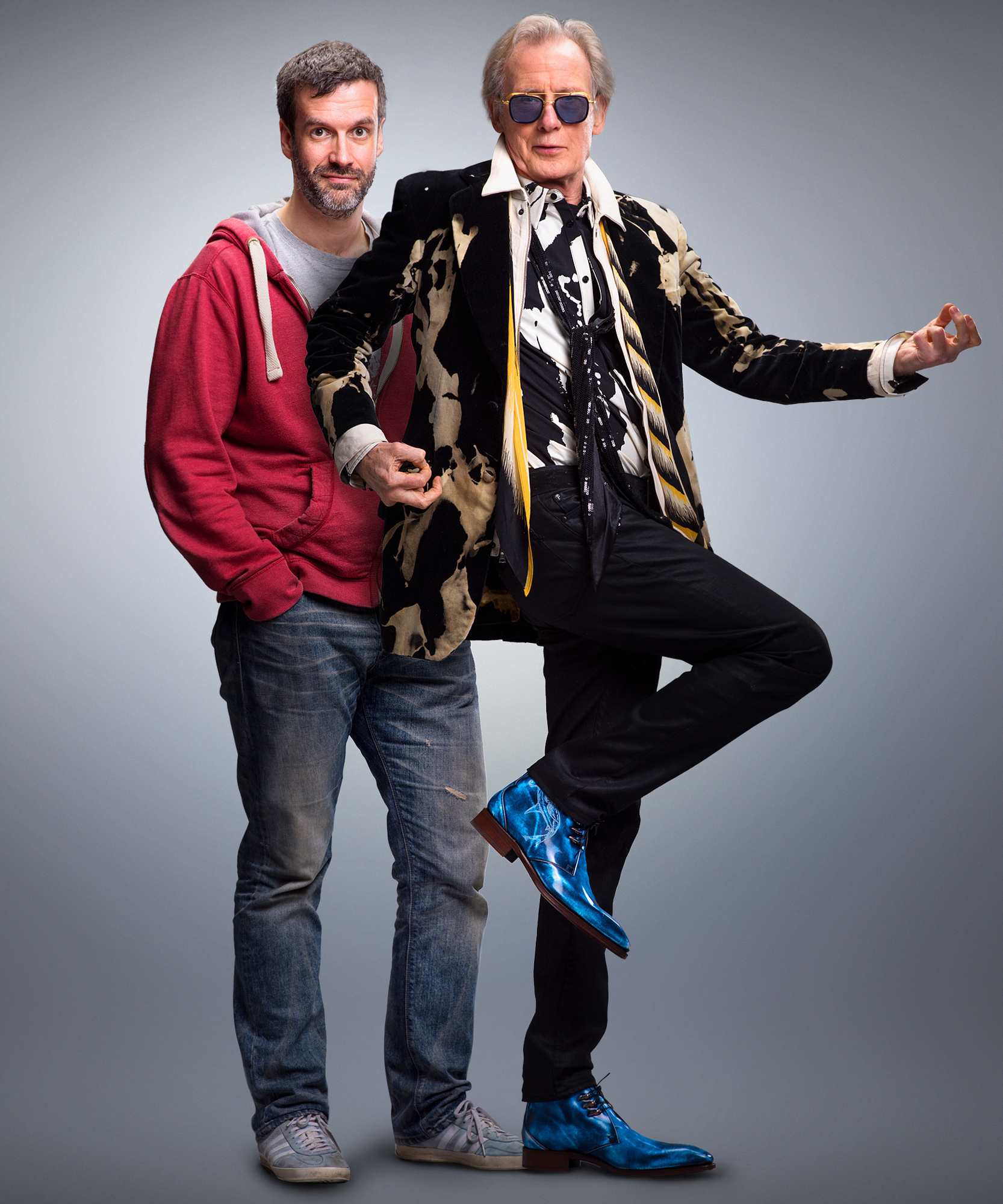<p>Marcus Brigstocke and Bill Nighy</p>