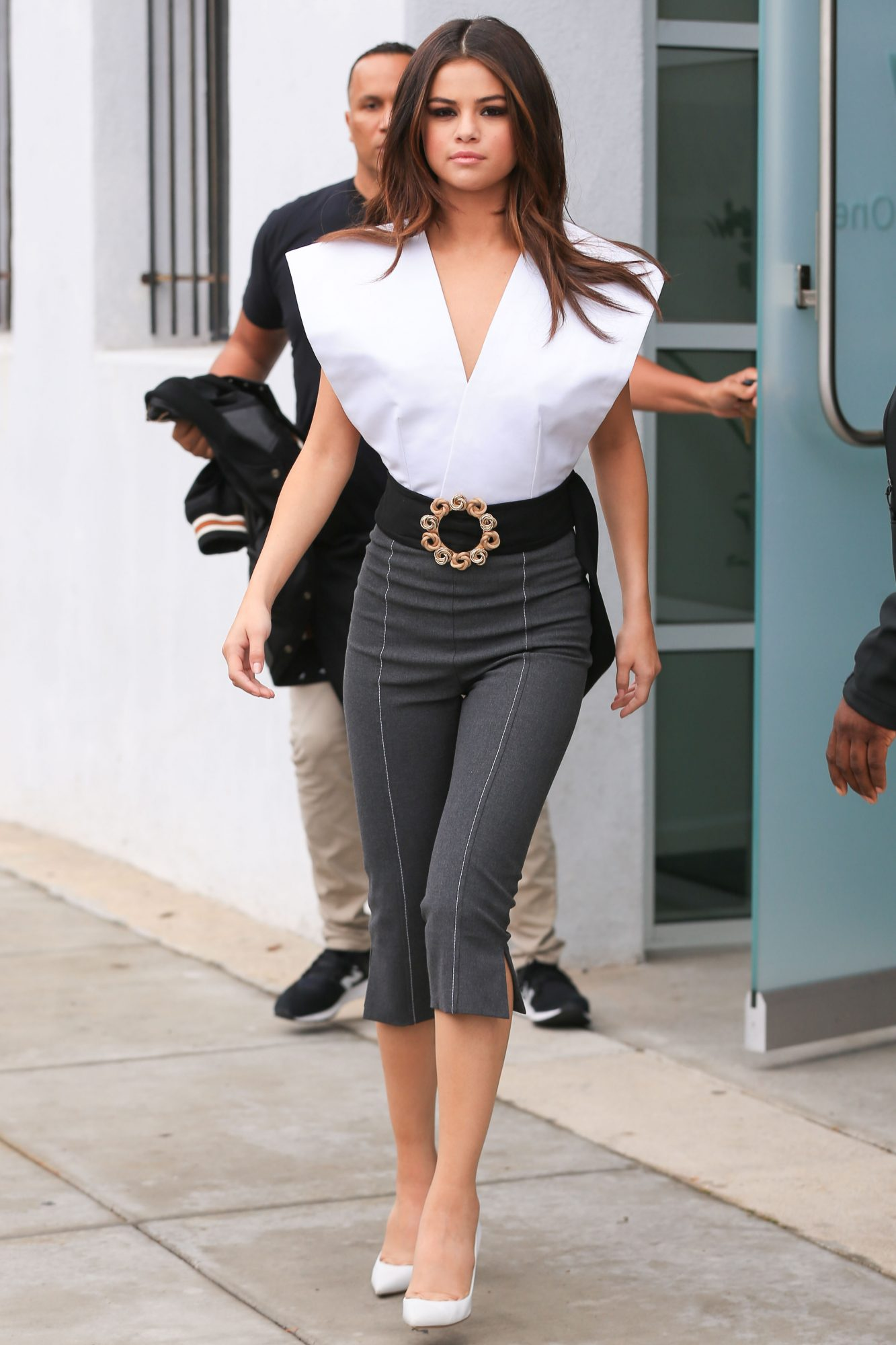 Selena Gomez Shows Off Sideboob in Plunging White Top ...