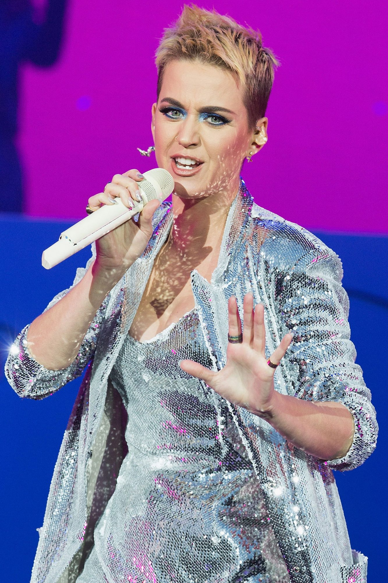 This Is What Katy Perry Looks Like with a Blue Pixie Cut