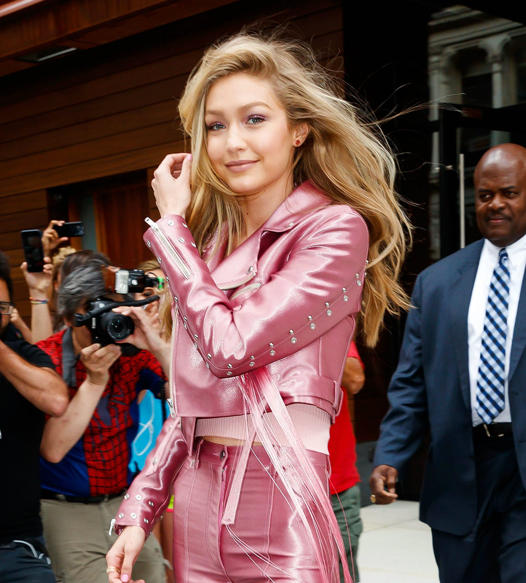 Gigi Hadid is Fully Wearing Pink Bell Bottoms on the Streets of New York