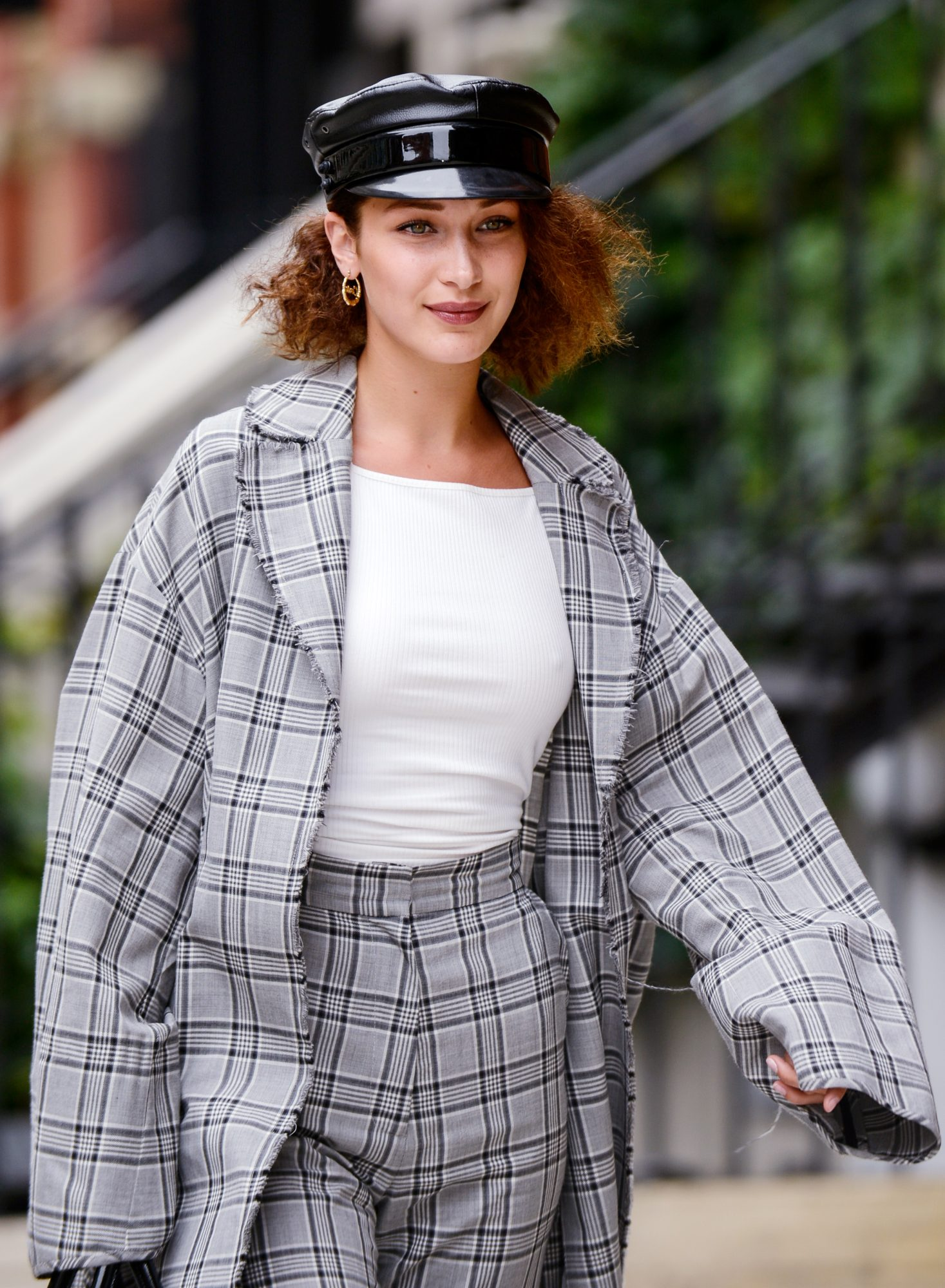<p>Bella Hadid in Plaid</p>