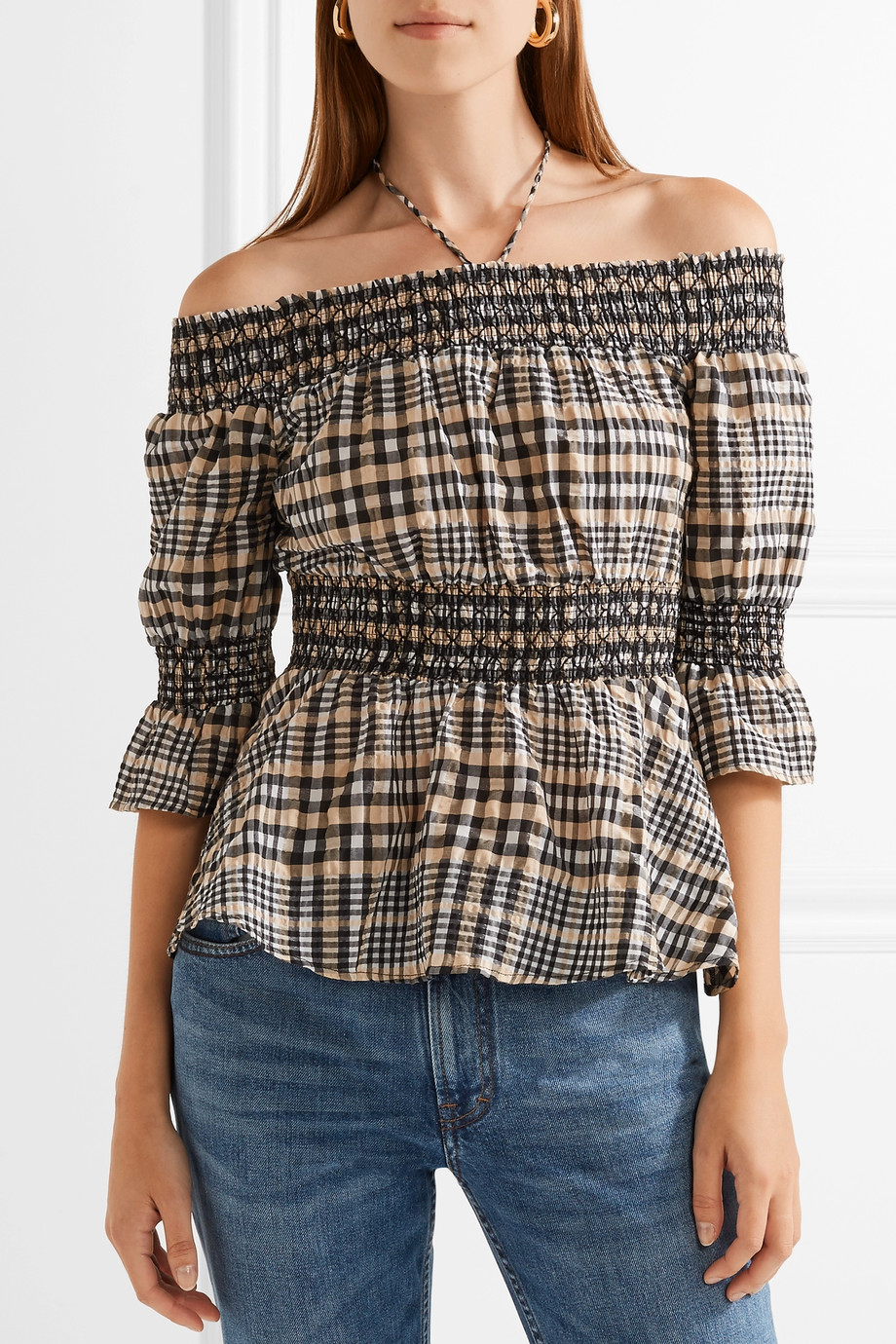 <p>Charron Off-the-Shoulder Checked Cotton-Blend Seersucker Top</p>