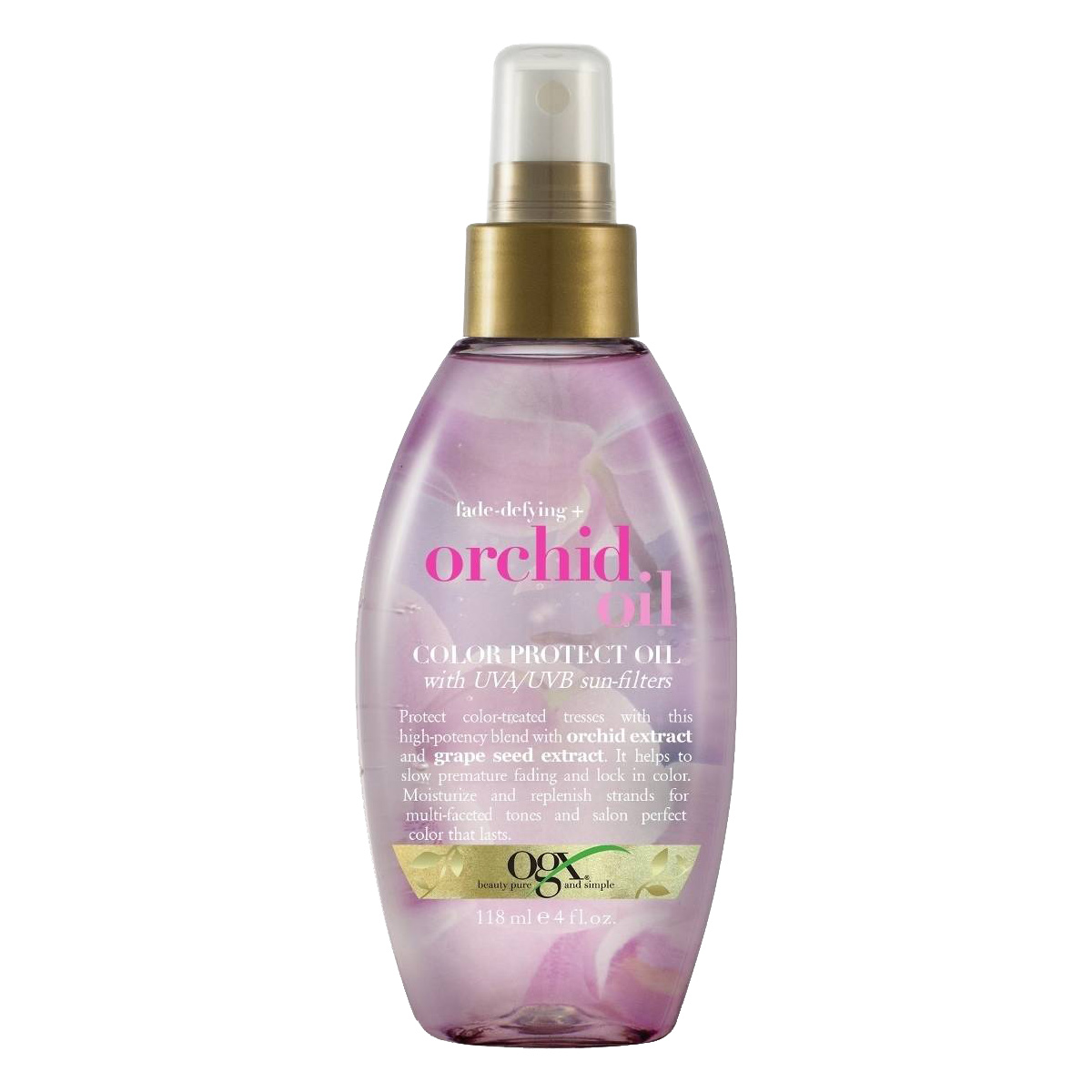 <p>For Color-Treated Hair: Ogx Fade-Defying + Orchid Oil Color Protect Oil</p>