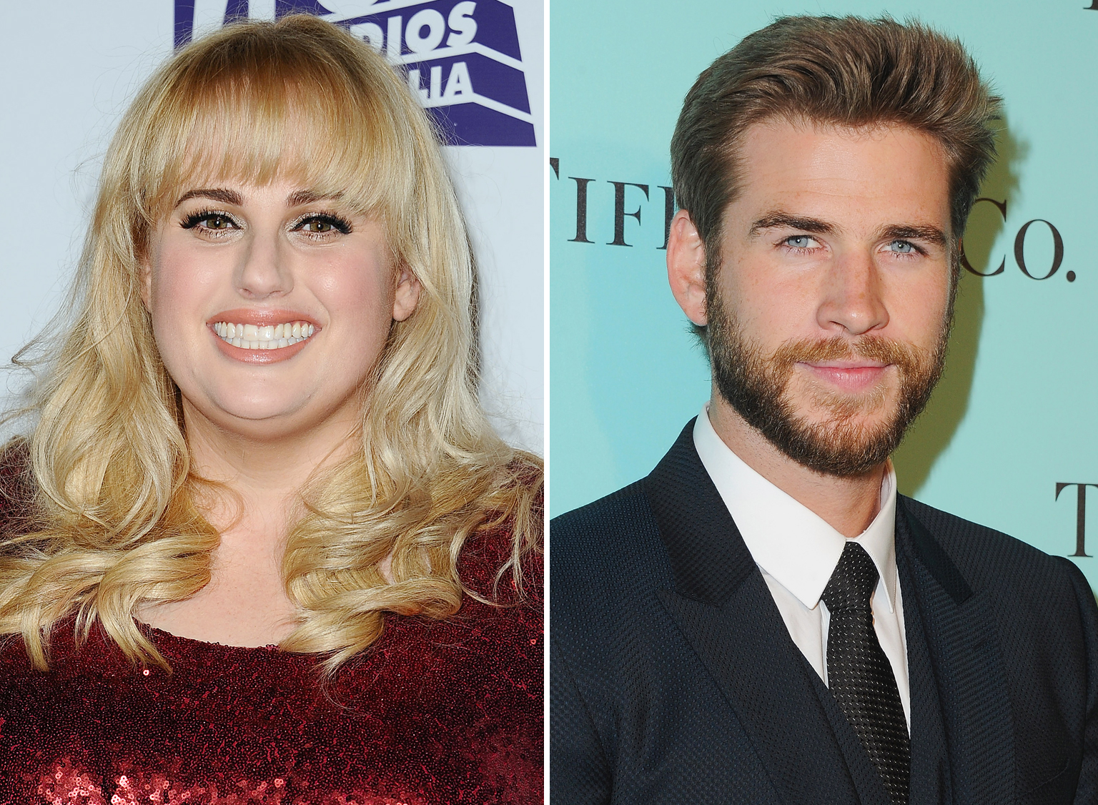Liam Hemsworth and Rebel Wilson Share a Steamy Kiss on Their Movie Set