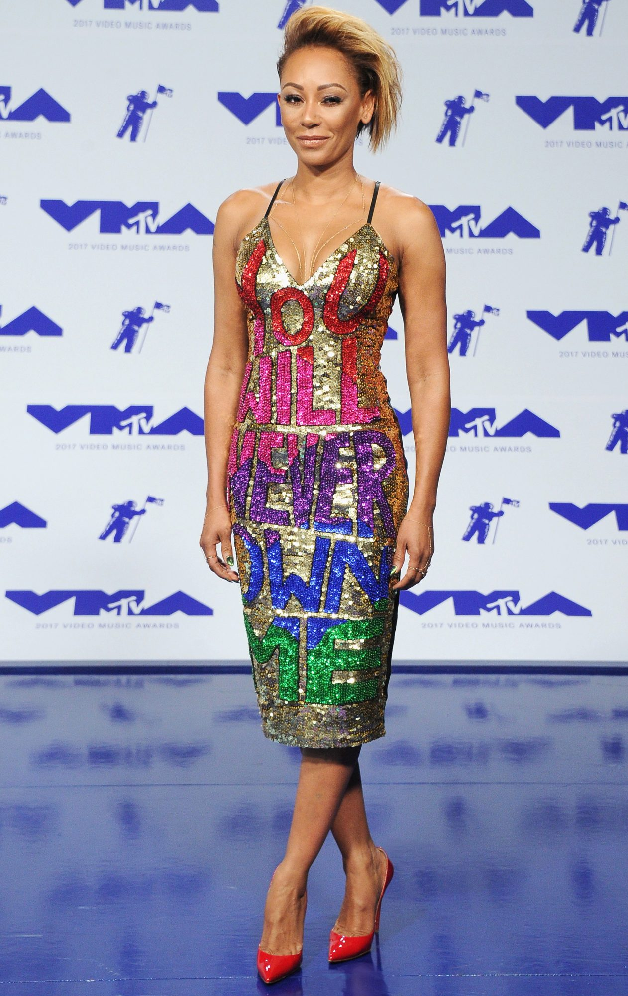 "Mel B Makes a Serious Statement at the VMAs with Her ""You Will Never Own Me"" Dress"