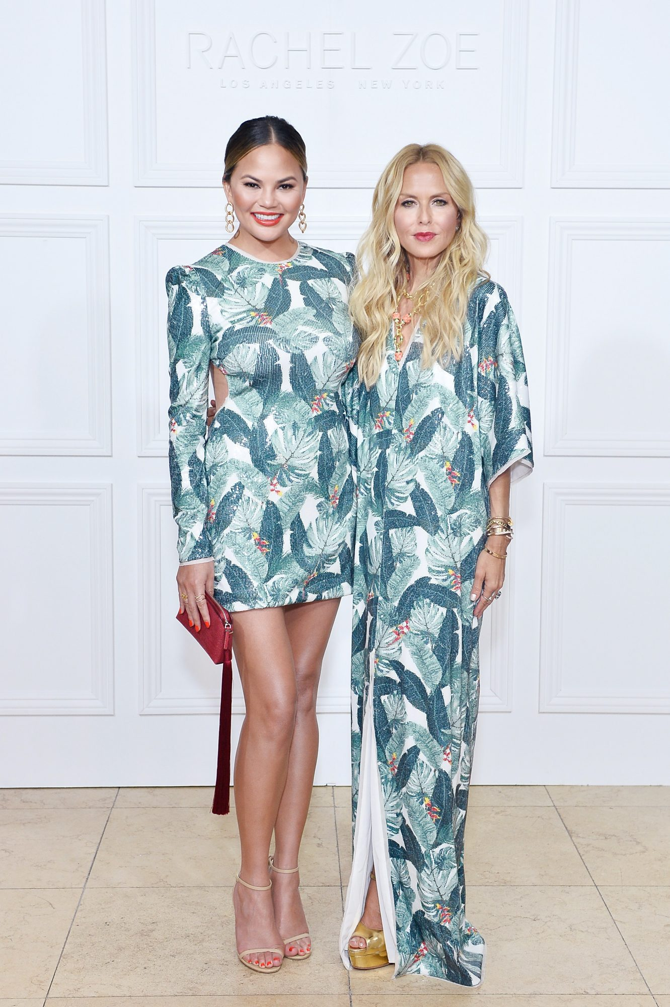 Chrissy Teigen and Rachel Zoe Twin in Palm Prints at Launch of Zoe's Bridal Collection