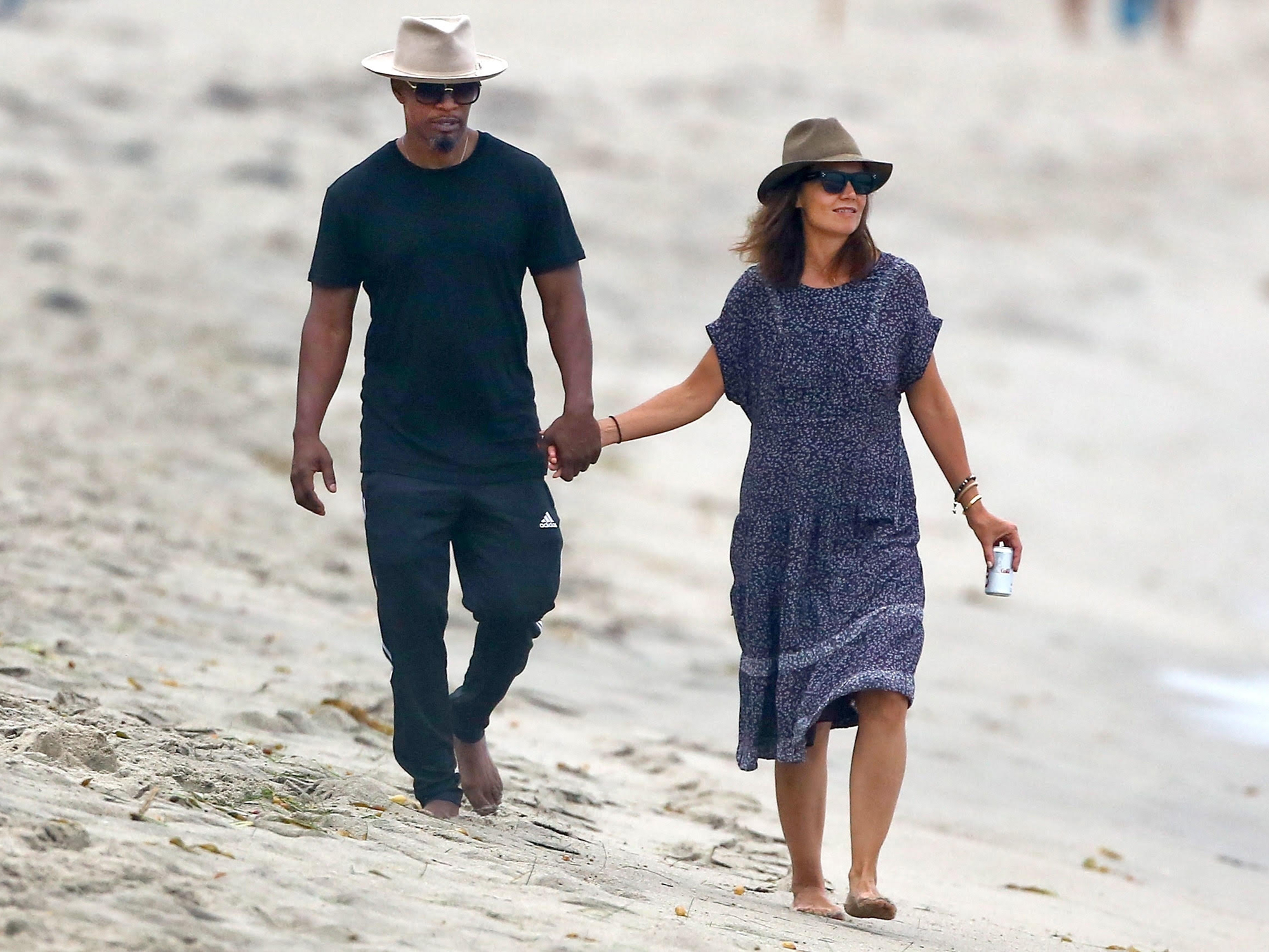 Katie Holmes and Jamie Foxx Photographed Holding Hands at the Beach